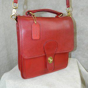 COACH Vintage 'Station' Bag #5130 Red Brass Exc!